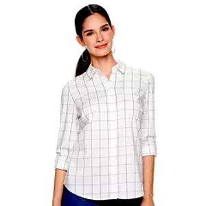 J Crew White Black Checker Print Button Up Shirt